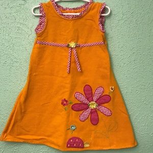 Girl's Sweet Heart Rose Orange A-Line Floral Dress